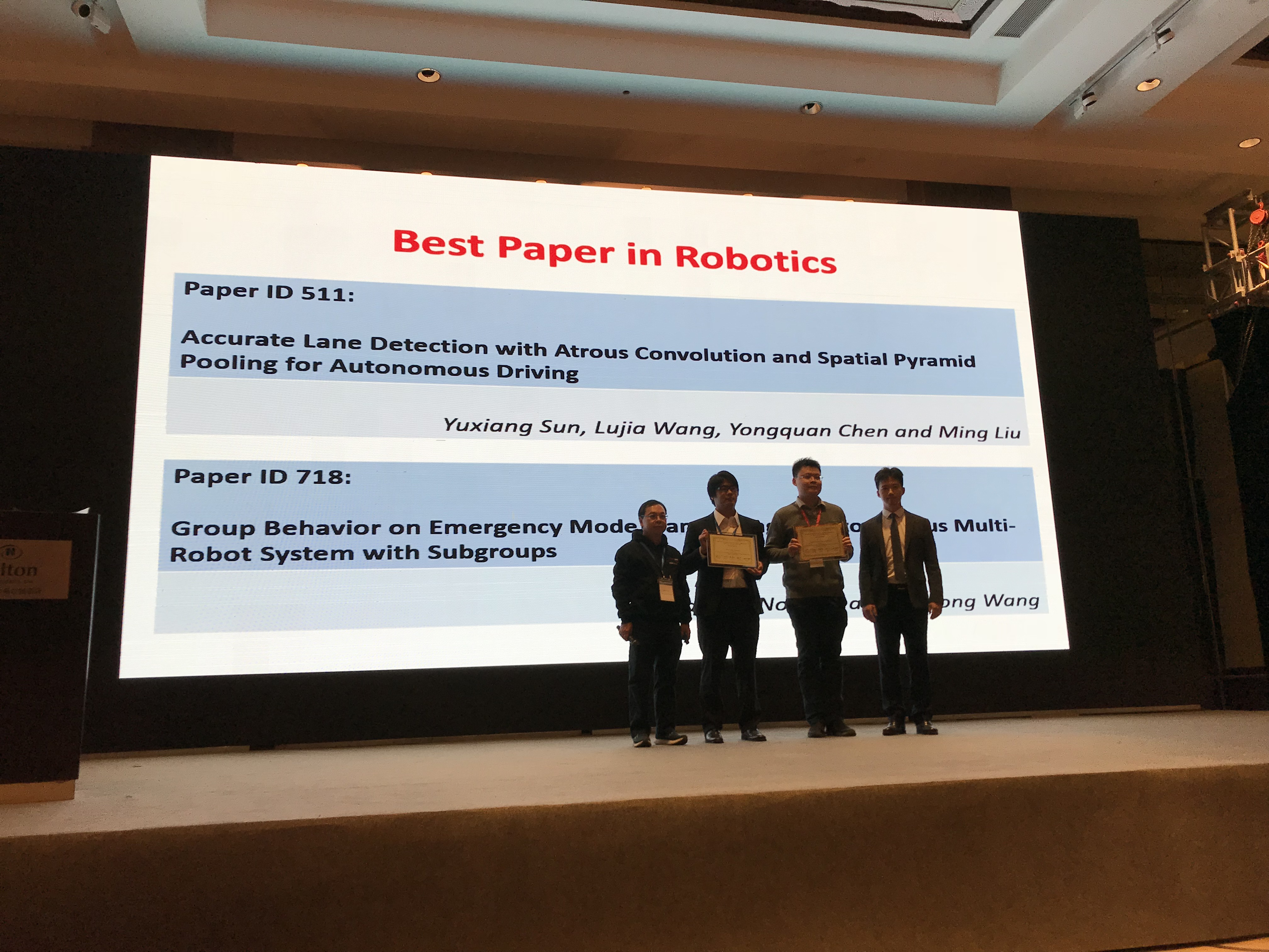 Dr. Yuxiang Sun received the Best Paper Award in IEEE-ROBIO 2019 conference